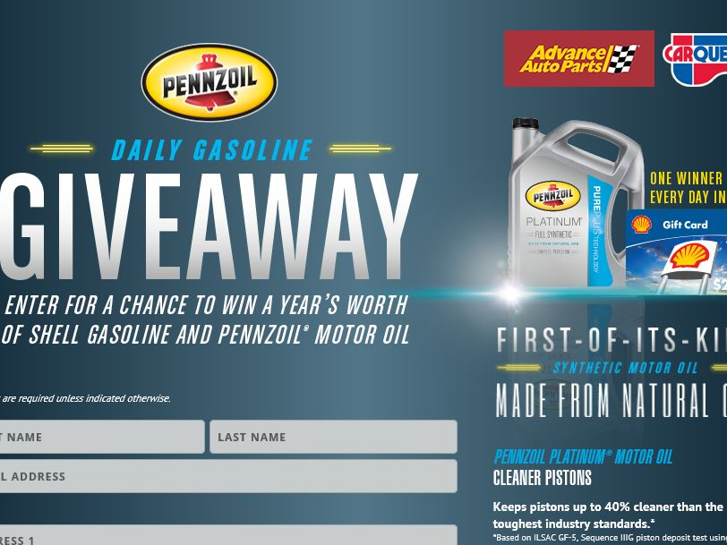 2015 PENNZOIL Advance Auto Parts Free Gasoline Sweepstakes