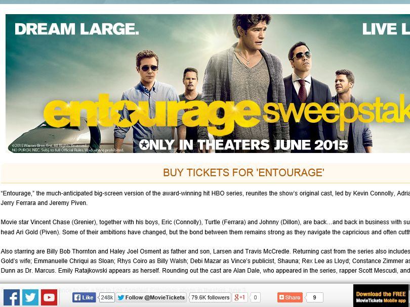 "MovieTickets.com's ""Entourage"" Sweepstakes"