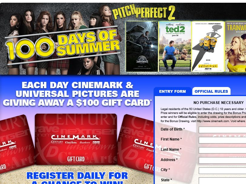 "Cinemark and Universal's ""100 Days of Summer"" Sweepstakes"