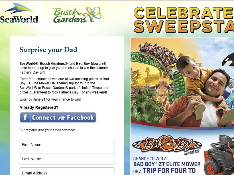 SeaWorld Celebrate Dad Sweepstakes