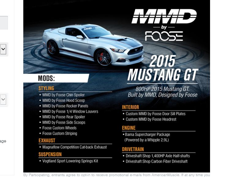 The AmericanMuscle MMD by Foose Sweepstakes