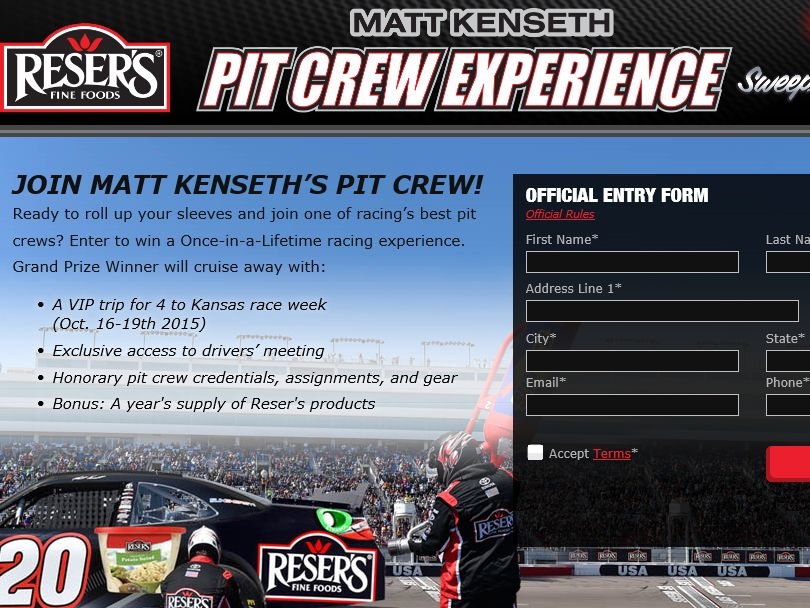 Reser's Matt Kenseth Pit Crew Experience Sweepstakes