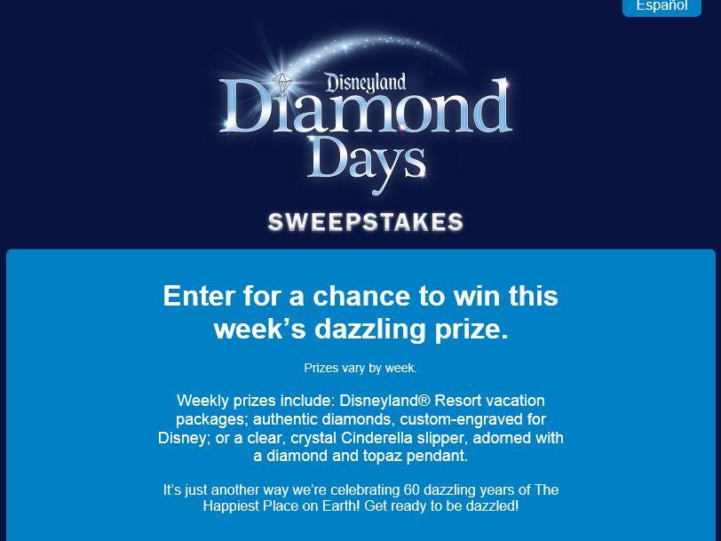 Disneyland Diamond Days Sweepstakes