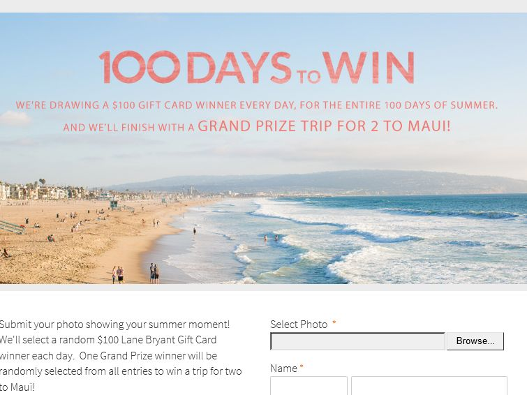 "Lane Bryant  ""100 Days of Summer"" Sweepstakes"