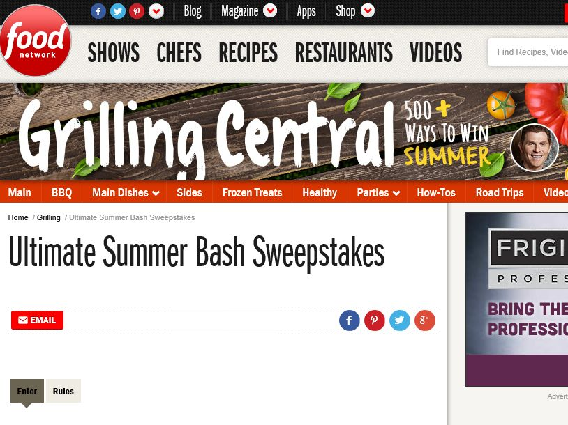 The Food Network Ultimate Summer Bash Sweepstakes
