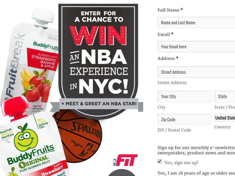 The Buddy Fruits NBA Sweepstakes