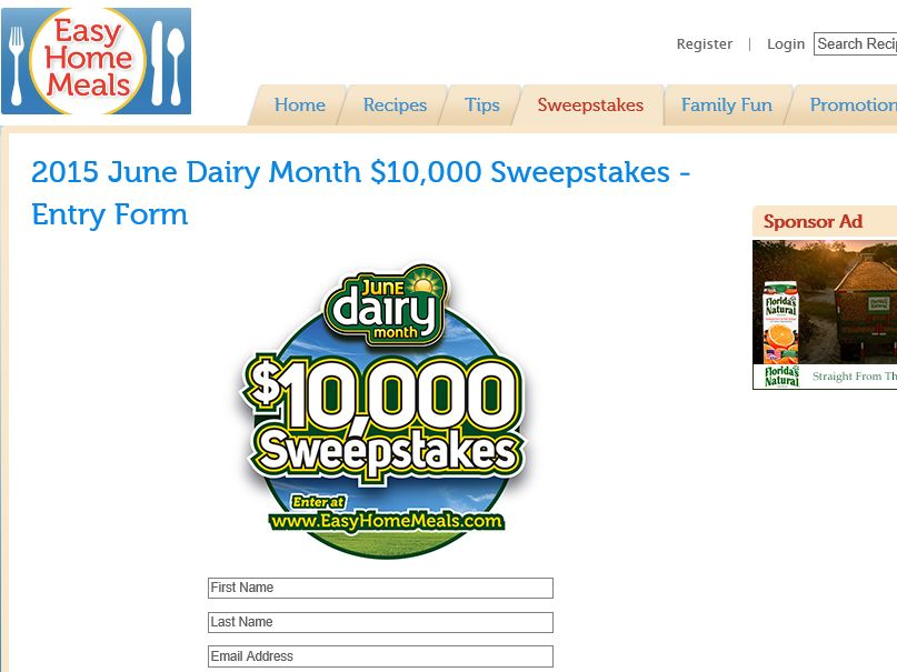 The June Easy Home Meals Dairy Month $10,000 Sweepstakes
