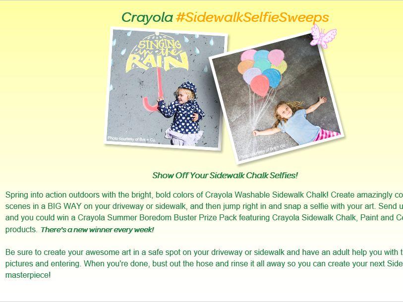 """The Crayola """"#SidewalkSelfieSweeps"""" Sweepstakes"""
