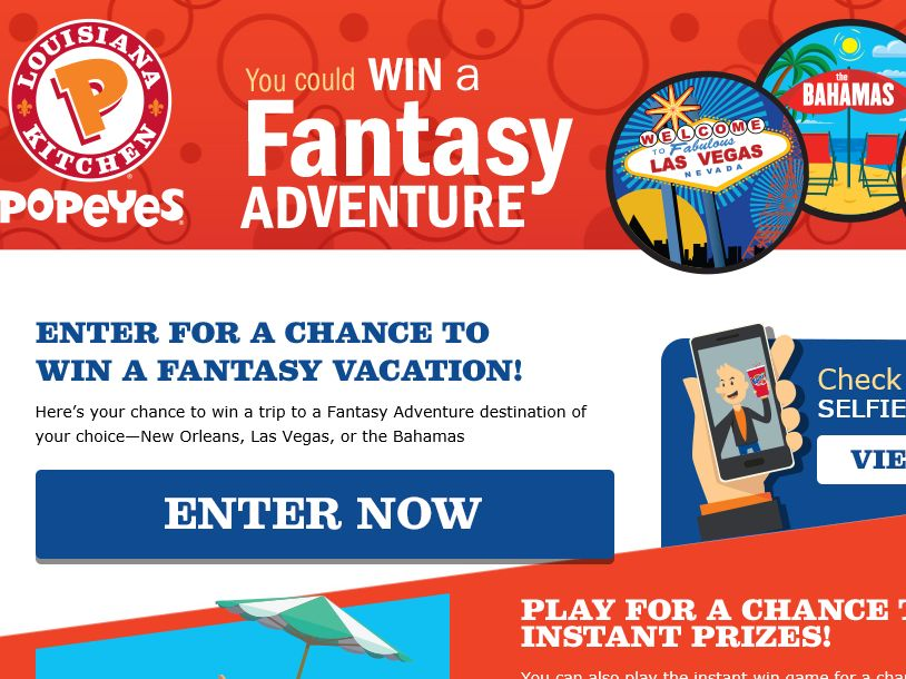 Popeyes Fantasy Adventure Sweepstakes