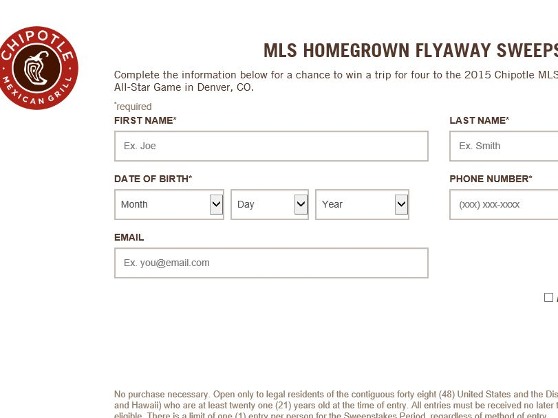 The Chipotle MLS Homegrown Flyaway Sweepstakes