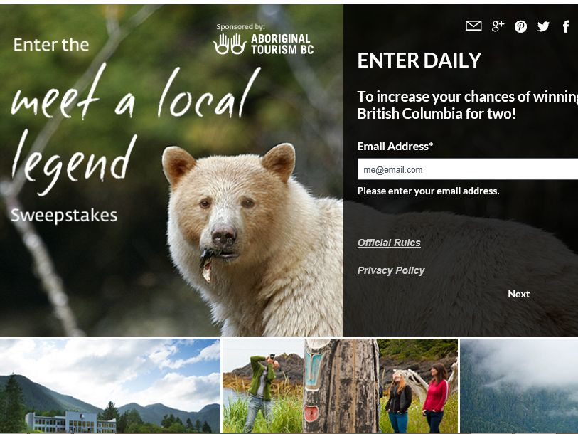 The National Geographic 2015 British Columbia Meet A Local Legend Sweepstakes