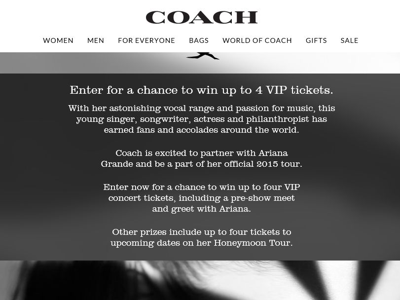 Coach Ariana Grande The Honeymoon Tour Giveaway