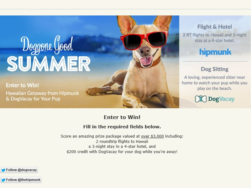 DogVacay and HipMunk Giveaway Sweepstakes