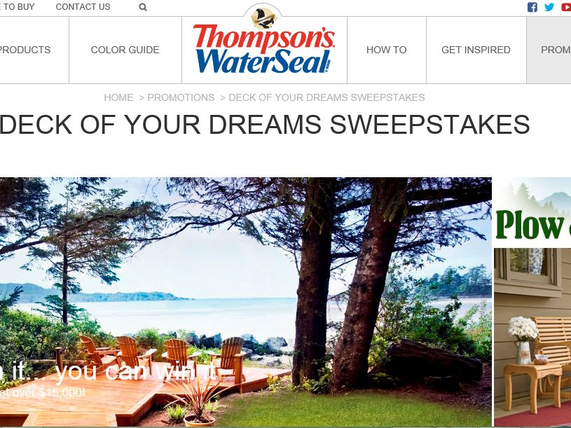 The Thompson's Company 2015 Deck of Your Dreams Sweepstakes
