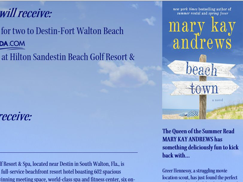 Mary Kay Andrews Beach Town Sweepstakes