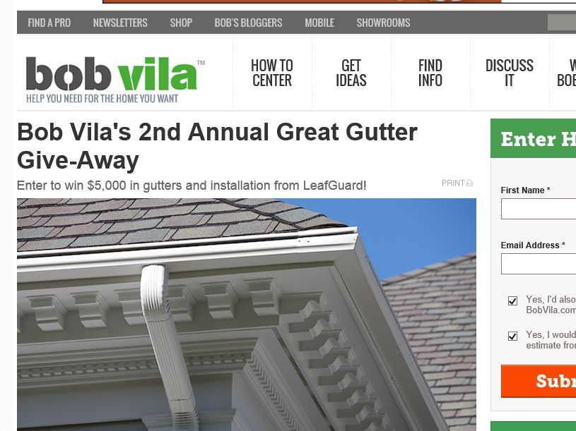 Bob Vila's 2nd Annual Great Gutter Give-Away