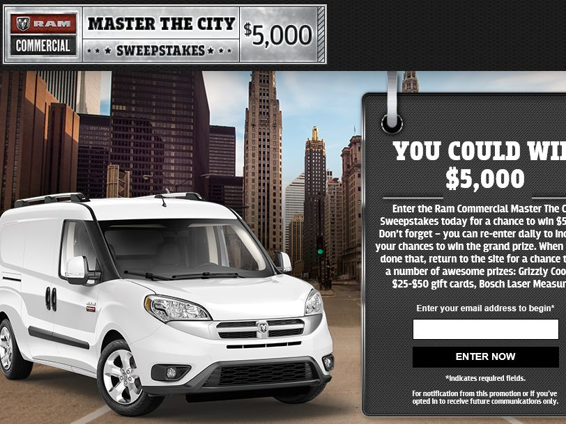 The Ram Commercial Master the City Sweepstakes