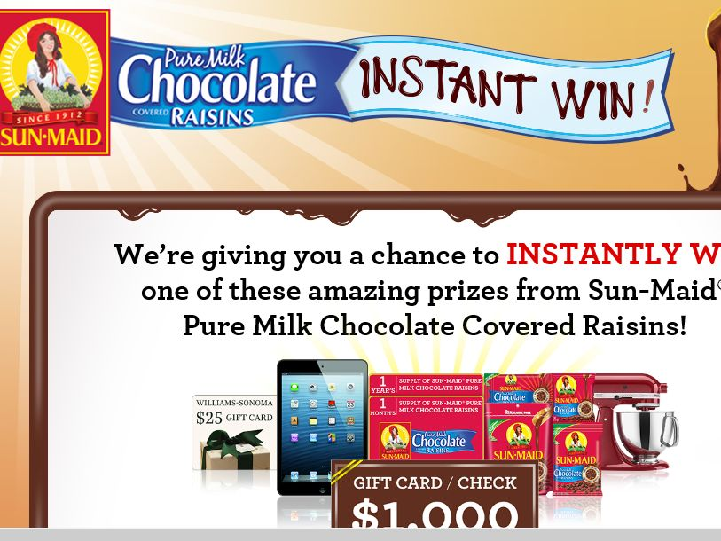 Sun-Maid Pure Milk Chocolate Covered Raisins Instant Win Game