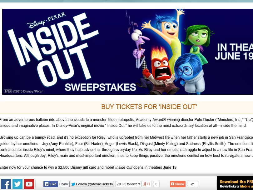"""The MovieTickets.com """"Inside Out"""" Sweepstakes"""