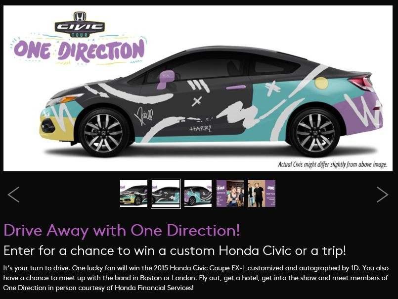 The 2015 Honda Civic Tour Drive Away with One Direction Sweepstakes
