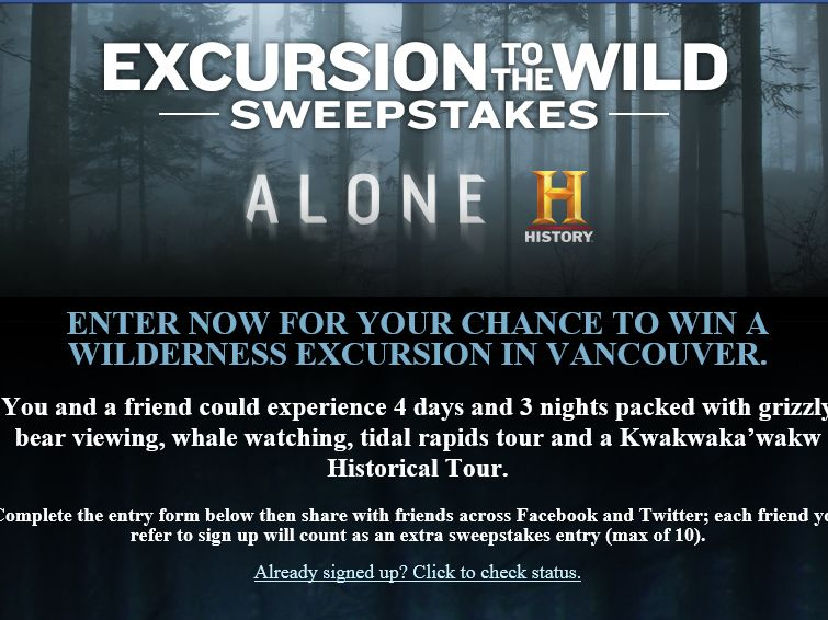 History's Alone Excursion To The Wild Sweepstakes