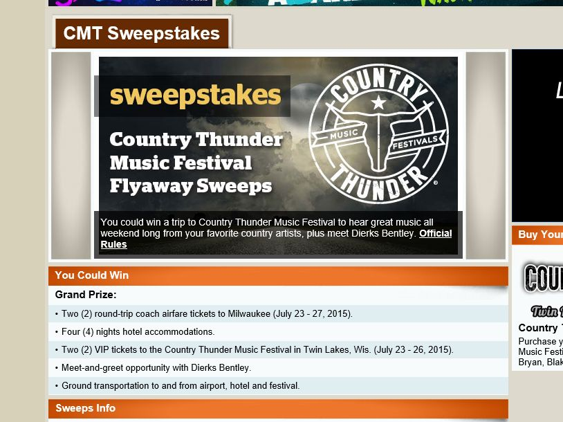 """The CMT """"Country Thunder Music Festival"""" Flyaway Sweepstakes"""
