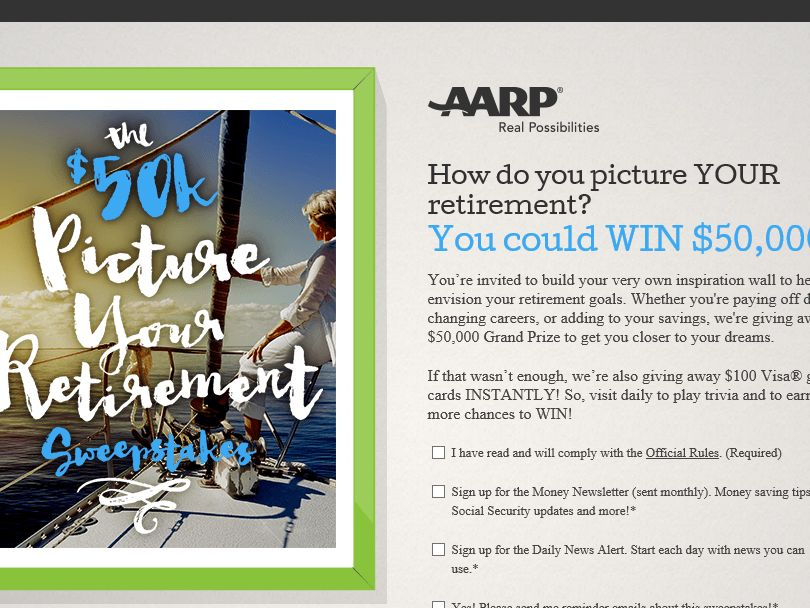 AARP $50K Picture Your Retirement Sweepstakes