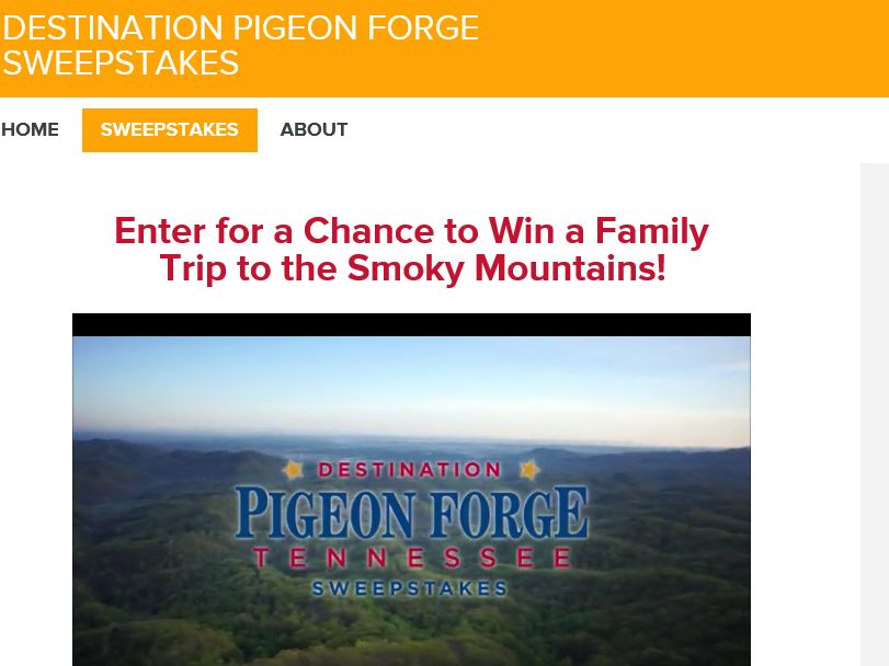 Hallmark Channel's – Destination Pigeon Forge Tennessee Sweepstakes