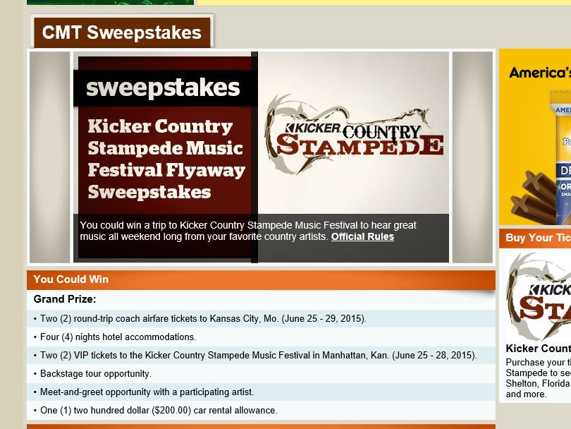 "The CMT ""Kicker Country Stampede Music Festival Flyaway"" Sweepstakes"