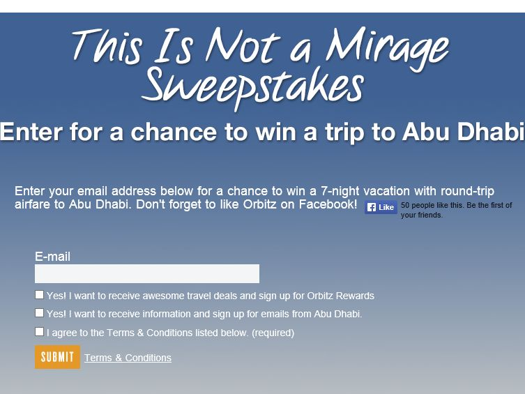 The Orbitz This Is Not A Mirage Sweepstakes