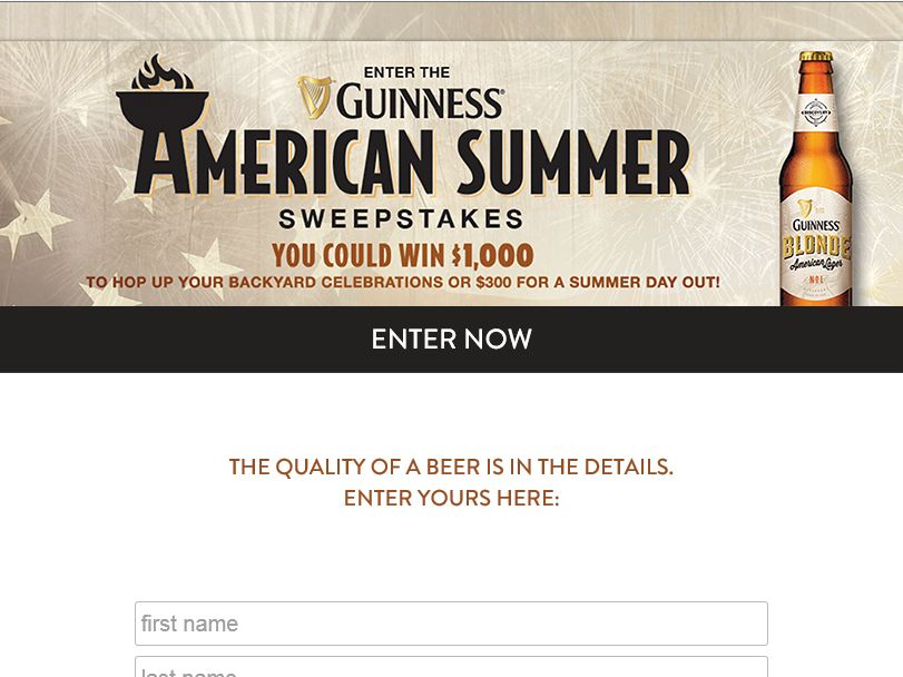 """Guinness """"American Summer"""" Sweepstakes"""
