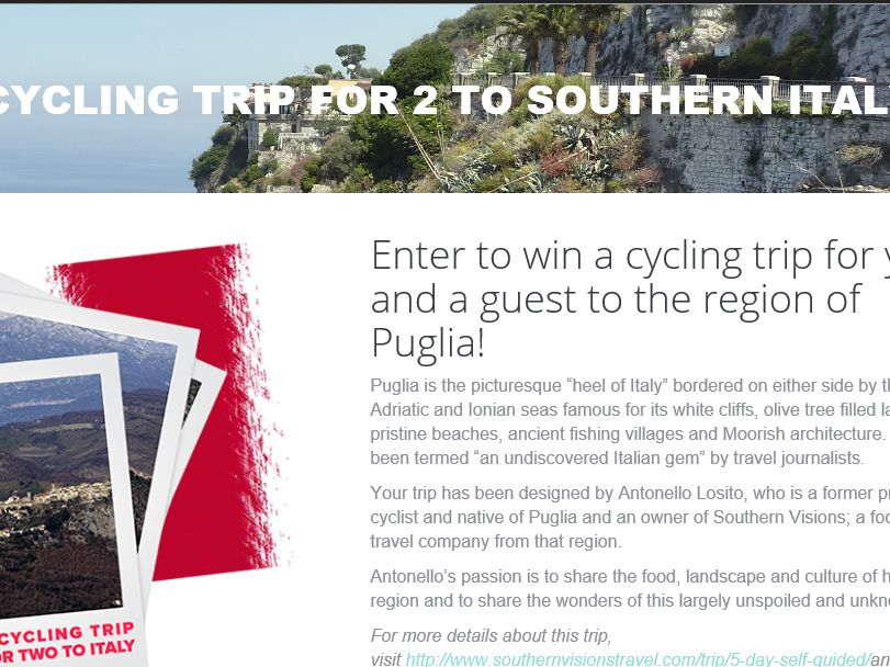 """Colavita """"Cycling Trip to Italy for Two"""" Sweepstakes"""