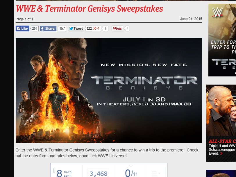 WWE & Terminator Genisys #WWETerminator Sweepstakes