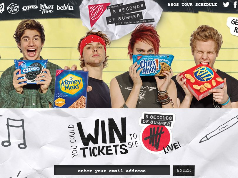 Nabisco 5 seconds of summer sweepstakes m4hsunfo