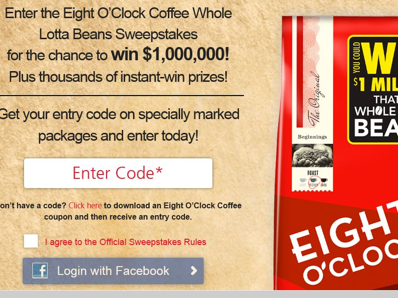Eight O'Clock Coffee Whole Lotta Beans Sweepstakes