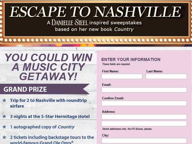 The PEOPLE Escape to Nashville Sweepstakes