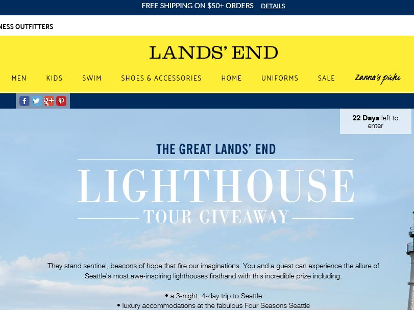 Lands' End 2015 Lighthouse Sweepstakes