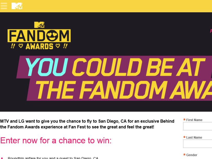 The MTV Behind the Fandom Awards Sweepstakes
