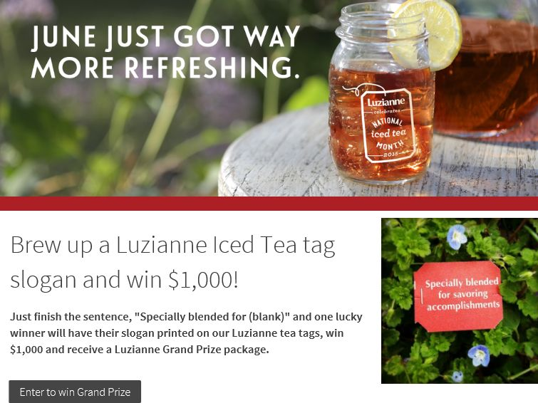 LUZIANNE Tea National Iced Tea Month Promotion