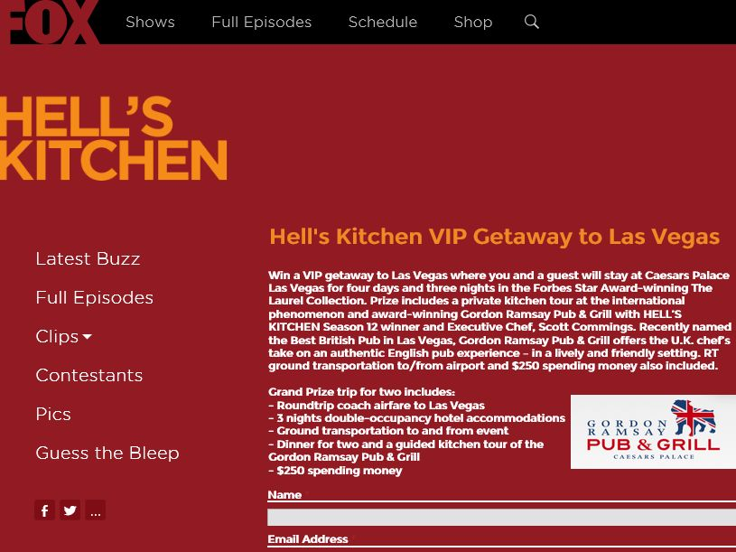 The HELL'S KITCHEN VIP Getaway Sweepstakes