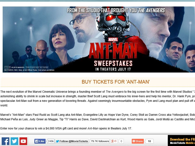 "The MovieTickets.com ""Ant-Man"" Sweepstakes"