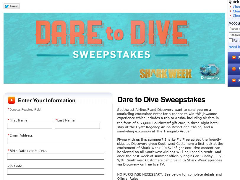 "Southwest ""Dare to Dive"" Sweepstakes"