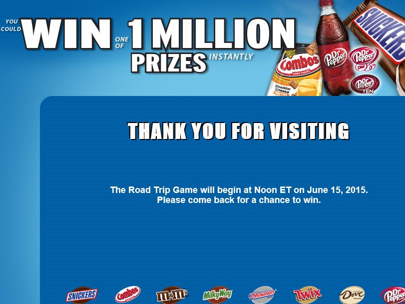 Mars Chocolate This Road Trip Game Sweepstakes
