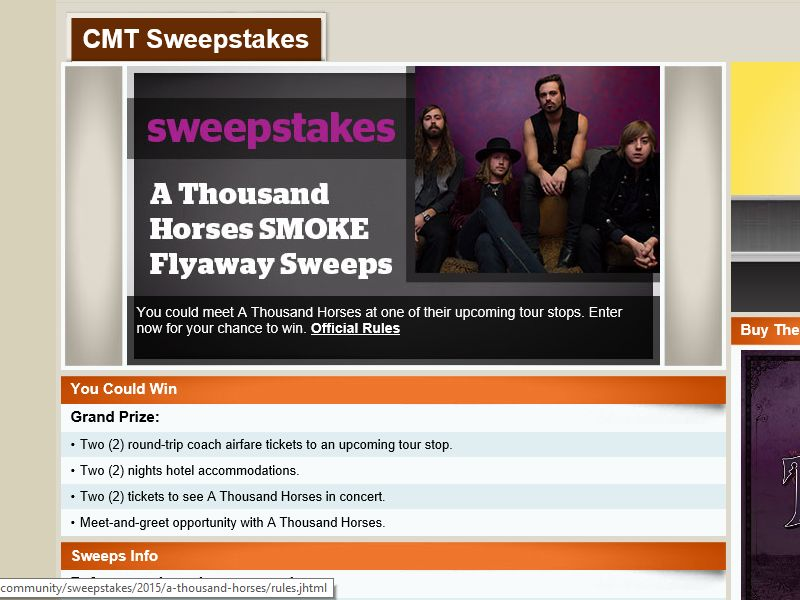 """The CMT A Thousand Horses """"Smoke"""" Flyaway Sweepstakes"""