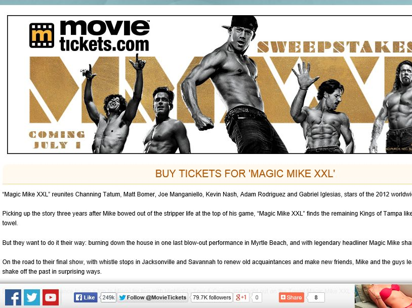 """MovieTickets.com's """"Magic Mike XXL"""" Sweepstakes"""
