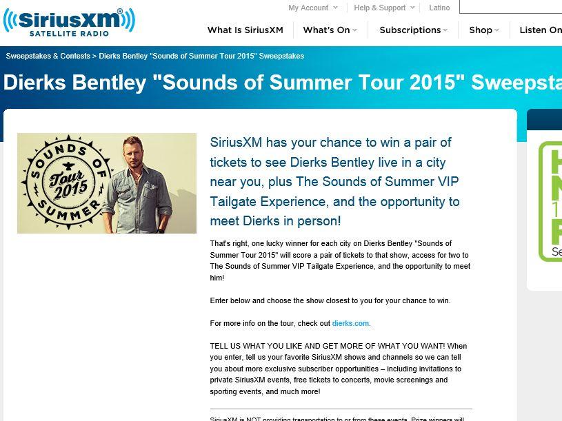 SiriusXM Dierks Bentley 2015 Tour Sweepstakes