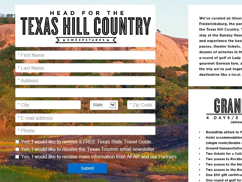 The Head for the Texas Hill Country Sweepstakes