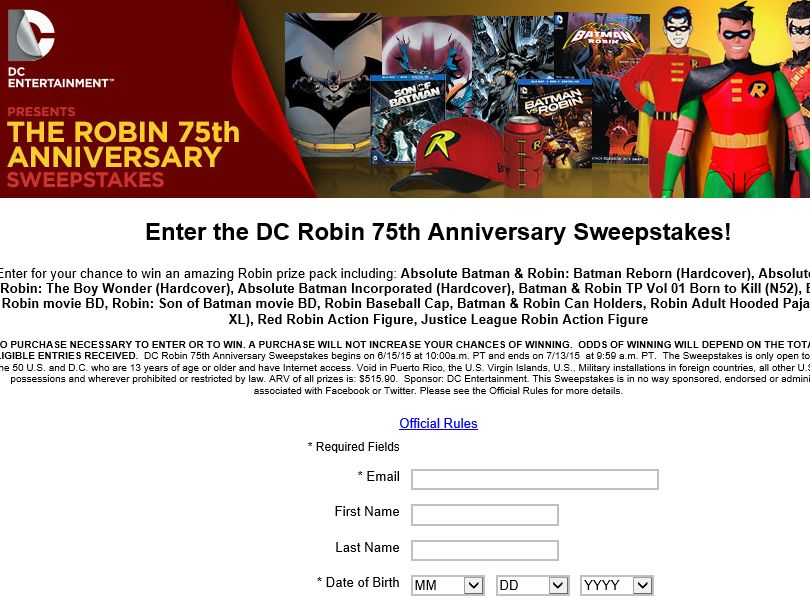 DC Robin 75th Anniversary Sweepstakes