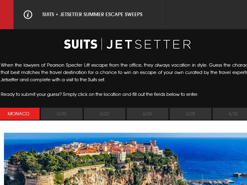 The SUITS Summer Escape Sweepstakes