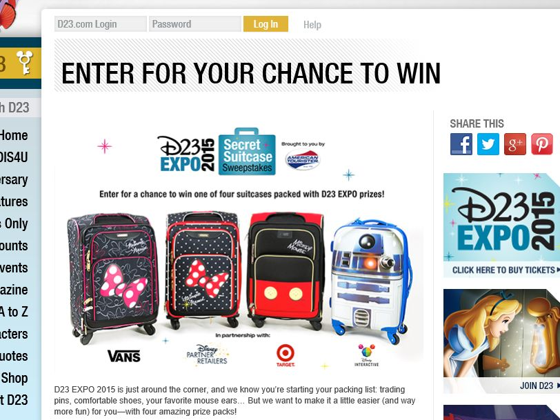 D23 EXPO 2015 Secret Suitcase Sweepstakes